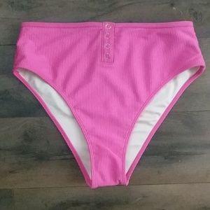 Pink High Waist Swim Bottoms